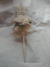 Flower Girl/Bridesmaid  wedding  ivory/blush/Pastel pink rose heart  Fairy Wand