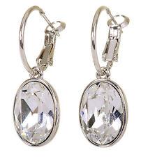 Swarovski Elements Crystal Oval Puzzle Pierced Earrings Rhodium Authentic 7175y