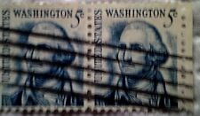 1966 U. S. Scott 1283 George Washington two used cancelled 5 cent stamps off