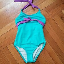 Aqua bathing suit girls size 10 swim turquoise and purple