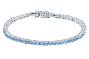 Swiss Blue Topaz Gemstone 925 Silver Tennis Bracelet Handmade Jewelry For Gift