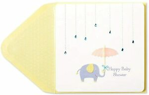 Papyrus Card Baby Shower - 3D Elephant With Umbrella with gem raindrops
