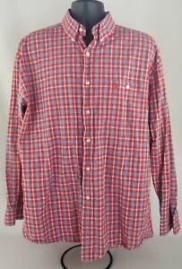 Men's George Strait Wrangler Red Plaid Button-Down Shirt Size XL