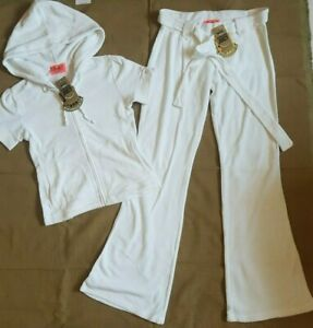 Juicy Couture Full Tracksuit Top Bottoms Petite P XS 4 6 8 WHITE NWT $256