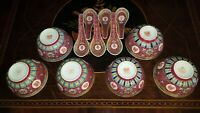6 Mun Shou Rice Bowls w 6 Spoons Red Porcelain Vintage Chinese Jingdezhen