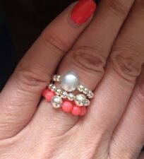 PINK CORAL STERLING SILVER STRETCH RING STACKING BEADED HEALING CHAKRA JEWELRY