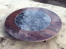 runde Couchtischplatte Naturstein Multicolor RED/ Intarsie Labrador Marmor Stein