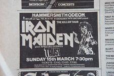 IRON MAIDEN 1981 Vintage adds SOUNDS large magazine Great PS Spandau Ballet U2