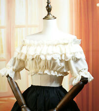 1pc Retro Puff Sleeve Frilly Blouse Chiffon Lace Bottoming Top Lolita Shirt 2WAY