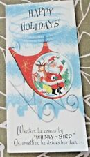 """Vintage Christmas Card Happy Holidays """"Whirly-Bird"""" Glides When Dropped, 1960's"""