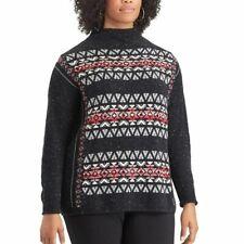CHAPS by Ralph Lauren Women's Plus Mockneck Sweater Black Jacquard Fairisle 2X