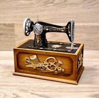 Singer Sewing Machine Replica Miniature Wooden Wood Storage Box Kit Unused