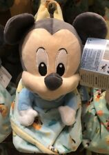 "Mickey Mouse Plush with Blanket Pouch 10"" Babies Disney Theme Parks NEW"