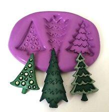 Árboles De Navidad De Silicona Molde Cake Decorating sugarpaste Fondant Fimo Resina