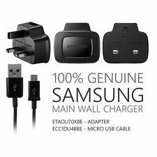 Genuine Samsung ETA0U71XBE Black USB Charger Adapter with Micro USB Cable.