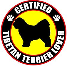 "Certified Tibetan Terrier Lover 4"" Dog Sticker"