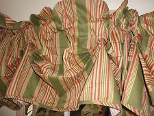 WAVERLY SWEETWATER TUCK VALANCE STRIPED CINNAMON OLIVE GREEN 14.5 X 78