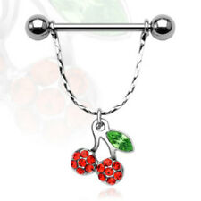 Pair of 316L Surgical Steel Nipple Shield with Multi Gem Cherry Dangle