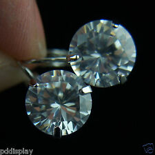 18k white Gold GF white Diamond simulant drop dangle earrings
