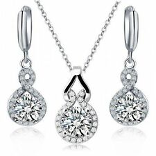 18K White Gold GP Clear White Swarovski Crystals Set Necklace Drop Earrings