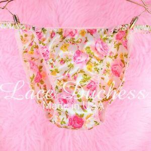 Vintage 80s style SATIN sissy shiny Floral Roses string bikini Panties sz 5 6 7