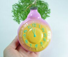 Huge Clock Russian Soviet Glass Christmas Ornament 1950s Christmas Thick Glass