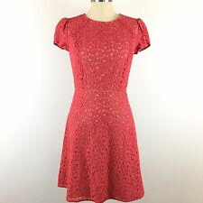 NEW Ann Taylor Loft Dress Size 0 Coral Lace Fit And Flare NWT Women's Career