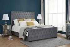 New Grey Velvet Fabric Luxury Button Detailed Bed