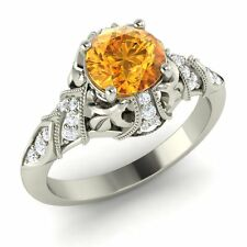 Certified Round-Cut Citrine & Real Si Diamonds 14K White Gold Vintage Look Ring