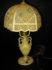 Early 1900's Multi Lamp Antique Lighting Lamps Art Deco Slag Glass Metal Works
