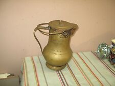 """Antique Vintage Hand-Hammered Copper + Brass Lided Pitcher Jug Made in Italy 10"""""""