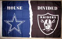 DALLAS COWBOYS - OAKLAND RAIDERS HOUSE DIVIDED 3x5 FEET FLAG BANNER GROMMETS NFL