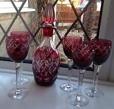 FINE RUBY Bohemien Taglia per cancellare Decanter & 6 Bicchieri
