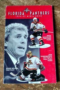 1994-95 Florida Panthers Media Guide Skrudland, Vanbiesbrouck, Neilson on cover