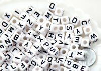 100 Perles Lettre Alphabet 8mm Mixte Blanc Creation Bijoux, Attache Tetine