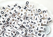 100 Perles Lettre Alphabet 8mm Mixte Blanc Creation Bijoux, Attache Tetine
