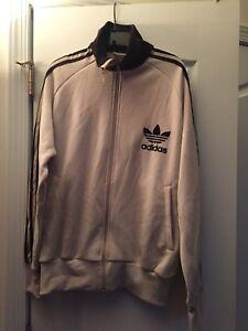 Adidas Originals Men Warm Up Track Jacket Felt Logo Khaki and Brown Sz L Vintage