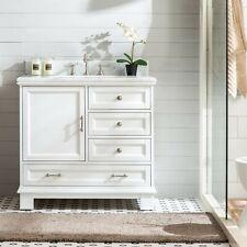 "36"" Bathroom Single Vanity Sink Cabinet White Finish w/ Carrara Marble Stone Top"