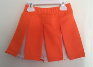 Cheerleading Skirt Orange White Knife Pleats Size Small Alleson Cheer Poly NWOT
