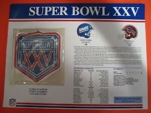 Super Bowl 25 XXV Embroidered Patch ~4 Inch 1991 Giants vs Bills MVP Anderson
