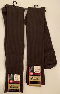 2 Pairs of Hanes Mens Vintage OTC Socks Size 10-13 Brown NEW