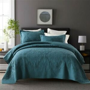 3pc Teal Green King Size 100% Cotton Embroidered Coverlet Autumn Bedspread Set