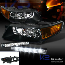 04-05 Acura TSX Projector Headlights Black Housing w/ 6-LED DRL Fog Lamp