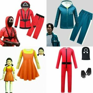 SQUID GAME Kids Girl Costume Halloween Party Cosplay Fancy Dress Outfit Jumpsuit