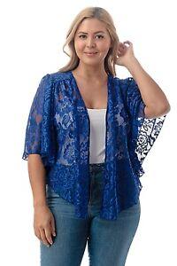 Womens Plus Size 2X NEW Blue Lace Cardigan Bolero Shrug Top