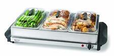 Buffet Server Triple Warmer Crock Pot Lid Cover Hot Electric 3 Food Heater Tray