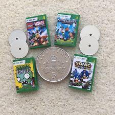 """Cuatro casa de muñecas en miniatura de """"juegos de Xbox"""" - Sonic Zombies Minecraft Lego hecho a mano"""