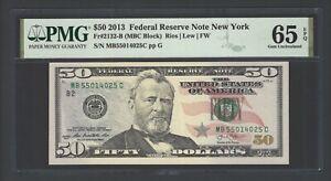 United State -Federal Reserve Note 50 Dollars 2013 F2132-B (MBC Block) Grade 65