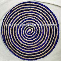 """Indian Handmade Blue Saree Rug Jute Round Rugs Floor Mat Reversible Door Mat 36"""""""