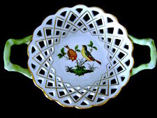 "8"" Open Weave Round Basket Handles 7411/RO Herend Hungary Rothschild HP Porcelan"